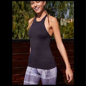 Free People shine on ribbed racer tank top black